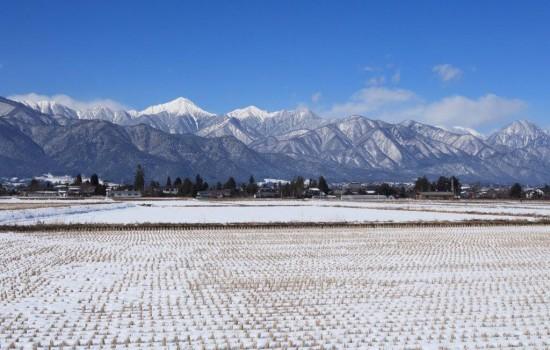 冬の常念岳の写真